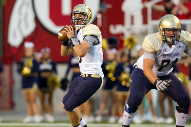 Northern Colorado Bears QB Seth Lobato (9) drops back to pass during the second half