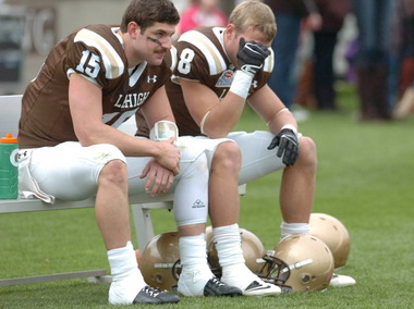 Lehigh quarterback Mike Colvin, left, and Ryan Spadola react after the Mountain Hawks' loss to Colgate. 11/10/2012
