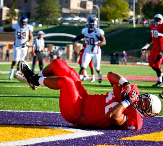 ISU's Jordan Neukirch hauls in a Touchdown pass in Illinois State's game at Western Illinois 2012