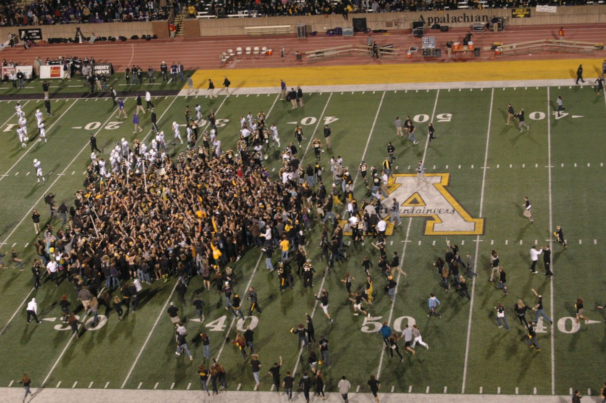 Unable to contain their excitement, hundreds of ASU fans stormed the field as the clock hit triple-zero to celebrate with their team, 11/10/2012