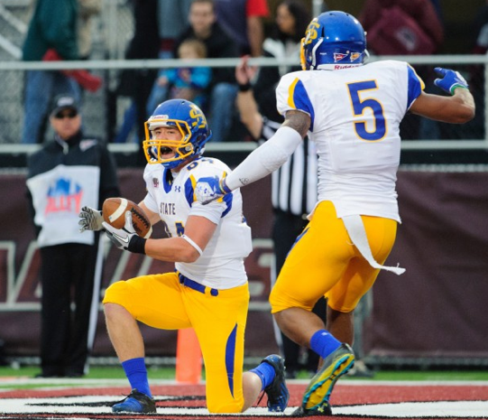 South Dakota State WR Trevor Tiefenthaler gets up after catching the game-winning TD with 7 seconds remaining.