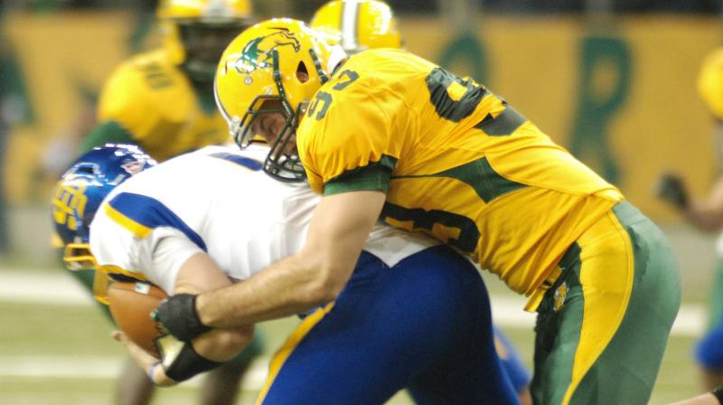 North Dakota State defensive end Cole Jirik (93) comes up with a sack during the Bison 28-3 win over South Dakota State on Saturday.