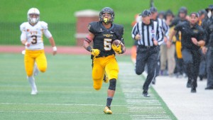 Latrell Gibbs' 91-yard interception return for a touchdown gave Appalachian State a 14-0 lead less than five minutes into Saturday's 31-13 homecoming win over Wyoming. (Keith Cline / App State Sports)