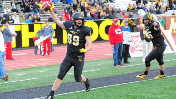Playing in his final game at Kidd Brewer Stadium, walk-on tight end Michael Moll scored his first-career touchdown to close out Appalachian State's scoring in Saturday's 28-7 win over UL Lafayette. Photo by Keith Cline / App State Sports