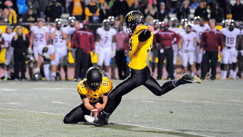 Zach Matics kicked two field goals in overtime, including the game-winning 24-yarder, to help Appalachian State fend off upset-minded Troy, 44-41, in triple overtime on Saturday afternoon at Kidd Brewer Stadium. (Keith Cline/Appalachian State Athletics)