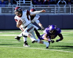 Colgate quarterback Jake Melville carries the ball during an FCS playoff game against James Madison on Saturday at Harrisonburg, Va. Colgate won 44-38. (Courtesy of Colgate)