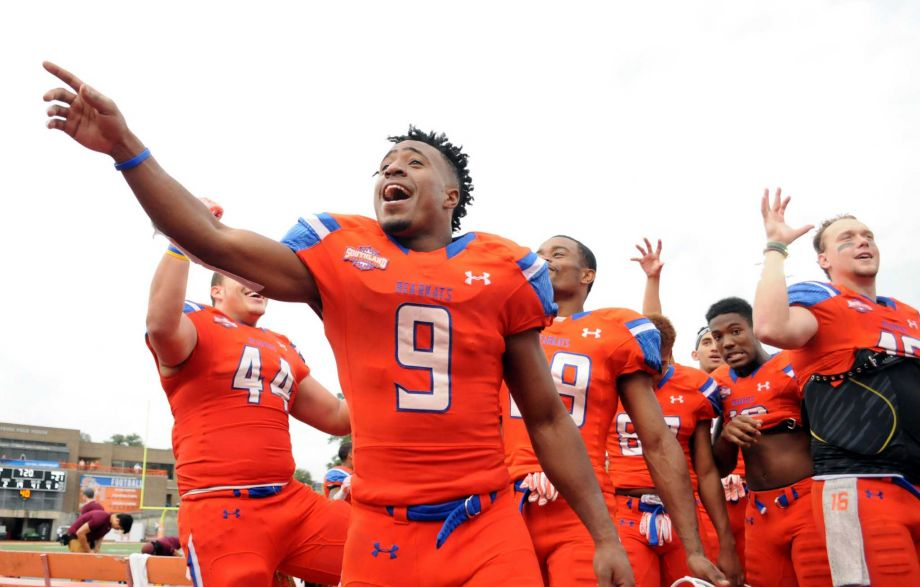 Sam Houston State receiver Yedidiah Louis (9) is all smiles after Saturday's 48-21 win over Colgate, a game in which he had nine catches for 119 yards and a score. (Joshua Yates, MBR)