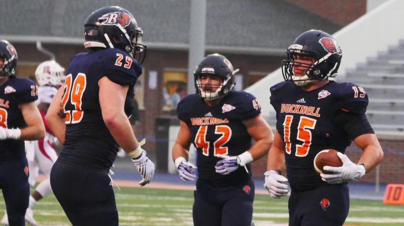Ben Richard (29), Mark Pyles (42) and Jimmy King (15) (Bucknell Athletics)