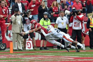 Oct 24, 2015; Fayetteville, AR, USA; Arkansas Razorbacks wide receiver Drew Morgan (80) dives into the end zone to score the winning touchdown during the quadruple overtime against the Auburn Tigers at Donald W. Reynolds Razorback Stadium. The Arkansas Razorbacks defeat the Auburn Tigers 54-46. Mandatory Credit: Jasen Vinlove-USA TODAY Sports