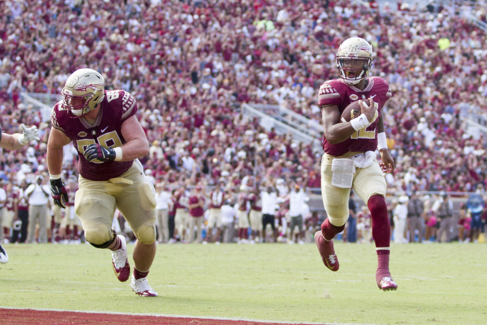 October 15, 2016: Florida State QB Deondre Francois (12) walks into the endzone for a touchdown during the game between the Florida State Seminoles and the Wake Forest Demon Deacons at Doak Campbell Stadium in Tallahassee, Florida. (Photo by Logan Stanford/Icon Sportswire)