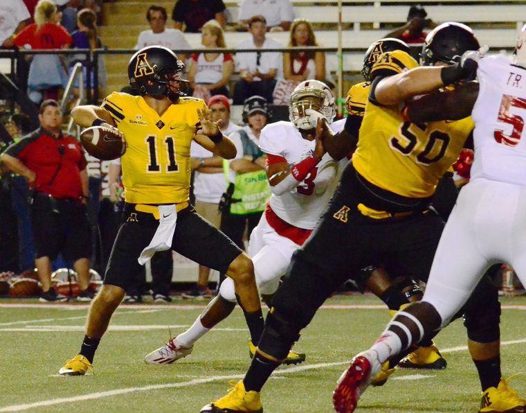 App State quarterback Taylor Lamb passed for 187 yards and a touchdown in the first half of the Mountaineers' 24-0 win over UL Lafayette. (Allyson Lamb/App State Athletics)
