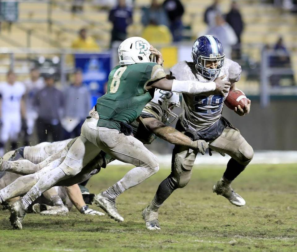 Jonah Hodges Runs Over Cal Poly Defense Courtesy of Laura Dickinson, San Luis Obispo News